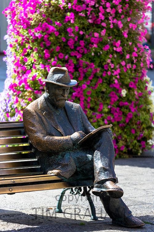 Bronze statue of architect Antoni Gaudi - Antony  Gaudi - by Sculptor J. Luis Fernandez at Casa Botines in Leon, Castilla y Leon, Spain
