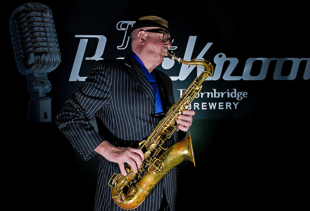 """March 23, 2012: Musician Bob Swift playing the tenor saxophone during a gig at the Greystones with his four-piece rhythm & blues band """"The Hummingbirds"""" in Sheffield on March 23, 2012."""