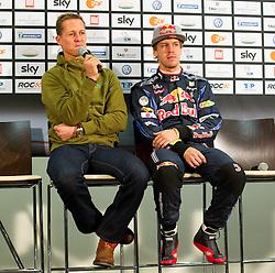 26.11.2010, Esprit Arena, Düsseldorf, GER, Race of Champions, im Bild Michael Schumacher (GER, F1 Mercedes GP) und Sebastian Vettel (GER, F1 Red Bull Racing) in der Pressekonferenz, EXPA Pictures © 2010, PhotoCredit: EXPA/ A. Neis / SPORTIDA PHOTO AGENCY
