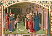 'St Augustine, Bishop of Hippo in Discussion'. Monks pray in the background.  St Augustine of Hippo (354-430) is regarded as one of the great fathers of the early Christian church. He was converted to Christianity in 386, and became Bishop of Hippo, Northe Africa, in 396. French manuscript..