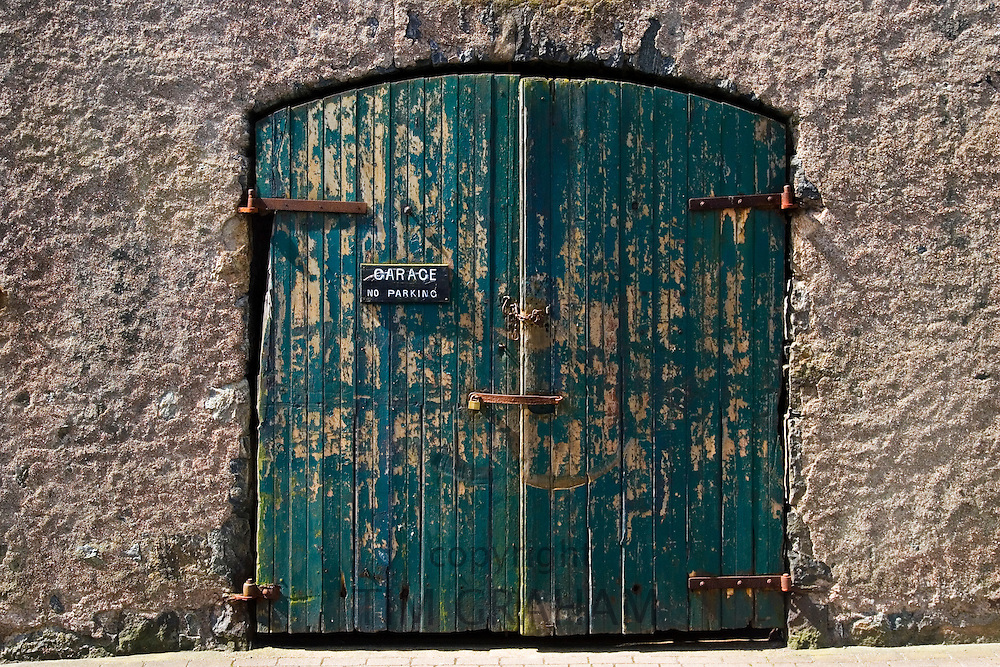 Garage door, Stornoway, Outer Hebrides, United Kingdom
