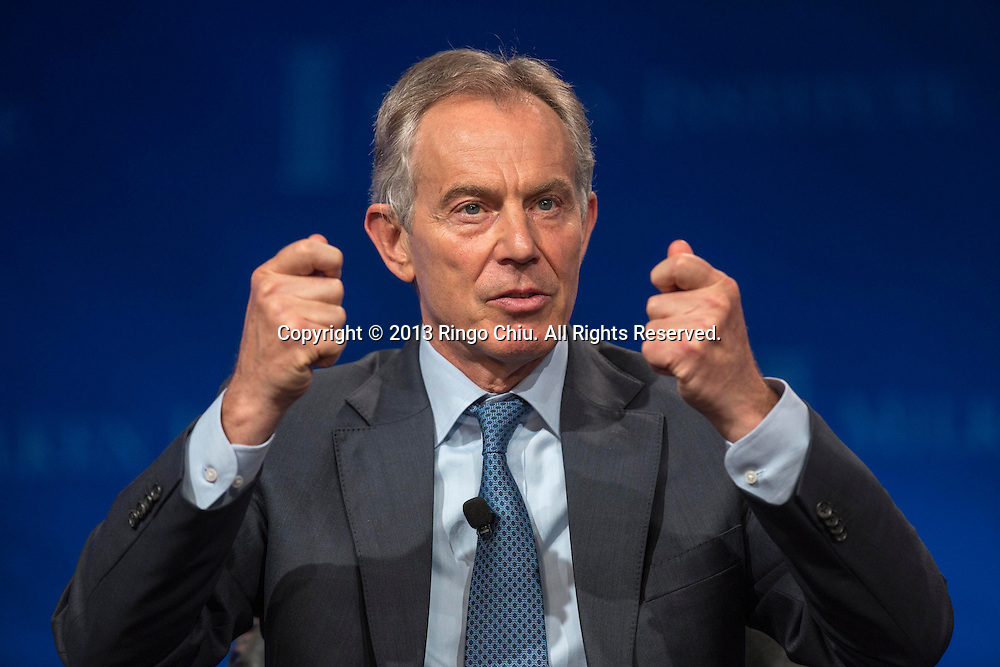 """Tony Blair, former Prime Minister of Great Britain and Northern Ireland, speaks in a panel """"Investing in African Prosperity"""" during the Milken Institute Global Conference on Wednesday, May 1, 2013 in Beverly Hills, California. (Photo by Ringo Chiu/PHOTOFORMULA.com)."""