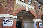 Exterior of the polling station on the morning of the UK 2017 general elections outside St. Saviours Parish Hall in Herne Hill, Lambeth, on 8th June 2017, in London, England.