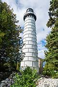 Photograph of the Cana Island Lighthouse, Cana Island County Park, Door County, Wisconsin, USA.