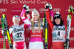 18-01-2015 AUT: Alpine Skiing World Cup, Cortina d Ampezzo<br /> 2nd placed Elisabeth Goergl of Austria ( L ), 1st placed Lindsey Vonn of the USA ( C ) and 3rd placed Daniela Merighetti of Italy ( R ) Celebrate on Podium during the award ceremony for the ladie's Downhill of the Cortina FIS Ski Alpine World Cup at the Olympia delle Tofane course in Cortina d Ampezzo, Italy<br /> <br /> ***NETHERLANDS ONLY***