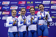 Podium Women Team Pursuit, Great Britain, ARCHIBALD Katie, KENNY Laura, BARKER Elinor, EVANS Neah, DICKINSON Eleanor (gold medal) during the UEC Track Cycling European Championships Glasgow 2018, at Sir Chris Hoy Velodrome, in Glasgow, Great Britain, Day 2, on August 3, 2018 - Photo Luca Bettini / BettiniPhoto / ProSportsImages / DPPI - Belgium out, Spain out, Italy out, Netherlands out -