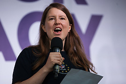 London, UK. 4 September, 2019. Heather Glass of Lambeth for Europe addresses Remain supporters at a Defend Our Democracy rally in Parliament Square shortly after MPs passed the Brexit delay bill in the House of Commons.
