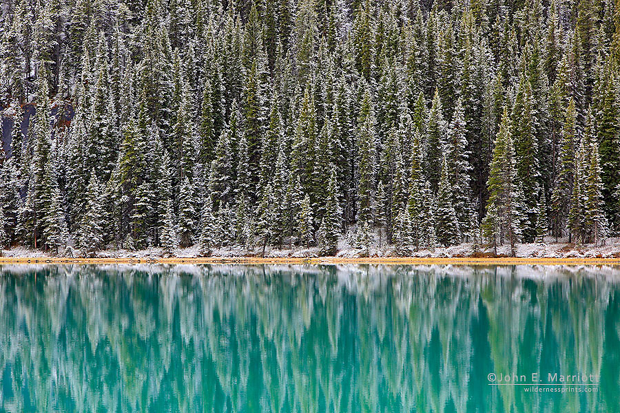 Snow lightly dusts the trees reflecting in the still lake.