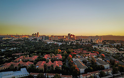 JOHANNESBURG, April 21, 2017  Photo taken on April 19, 2017 shows an aerial view of Sandton, north of Johannesburg, South Africa. The City of Johannesburg Local Municipality is situated in the northeastern part of South Africa with a population of around 4 million. Being the largest city and economic center of South Africa, it has a reputation for its man-made forest of about 10 million trees.  gl) (Credit Image: © Xinhua via ZUMA Wire)
