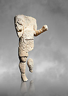 9th century BC Giants of Mont'e Prama  Nuragic stone statue of an archer, Mont'e Prama archaeological site, Cabras. Museo archeologico nazionale, Cagliari, Italy. (National Archaeological Museum) - Grey Art Background .<br />  <br /> If you prefer to buy from our ALAMY STOCK LIBRARY page at https://www.alamy.com/portfolio/paul-williams-funkystock/nuragic-artefacts.html - Type intoo the LOWER SEARCH WITHIN GALLERY box to refine search by adding background colour, etc<br /> <br /> Visit our NURAGIC PHOTO COLLECTIONS for more photos to download or buy as wall art prints https://funkystock.photoshelter.com/gallery-collection/Nuragic-Nuraghe-Towers-Nuragic-Artefacts-of-Sardinia-Pictures-Images/C0000M6ZtTuHVsSo
