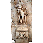 Roman Sebasteion relief sculpture of Krete Aphrodisias Museum, Aphrodisias, Turkey.   Against a white background.<br /> <br /> The classical hairstyle, dress and pose characterises the figure of civilised and free,