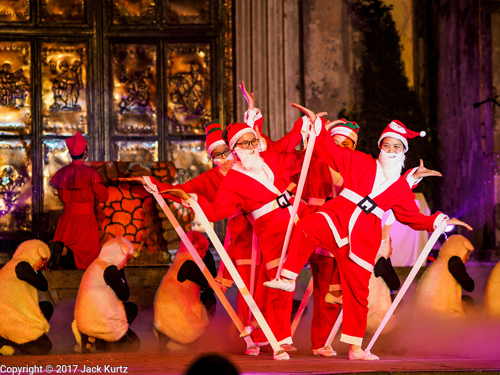 22 DECEMBER 2017 - HANOI, VIETNAM: A skit during the Christmas show at St. Joseph's Cathedral in Hanoi. There are about 5.6 million Catholics in Vietnam. The Cathedral was one of the first structures built by the French during the colonial era and was opened in 1886. It's one of the most popular tourist attractions in Hanoi.    PHOTO BY JACK KURTZ