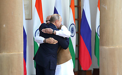 October 5, 2018 - New Delhi, India - October 5, 2018. - India, New Delhi. - Russian President Vladimir Putin and Prime Minister of India Narendra Modi (right) during a meeting in the Hyderabad House. (Credit Image: © Russian Look via ZUMA Wire)