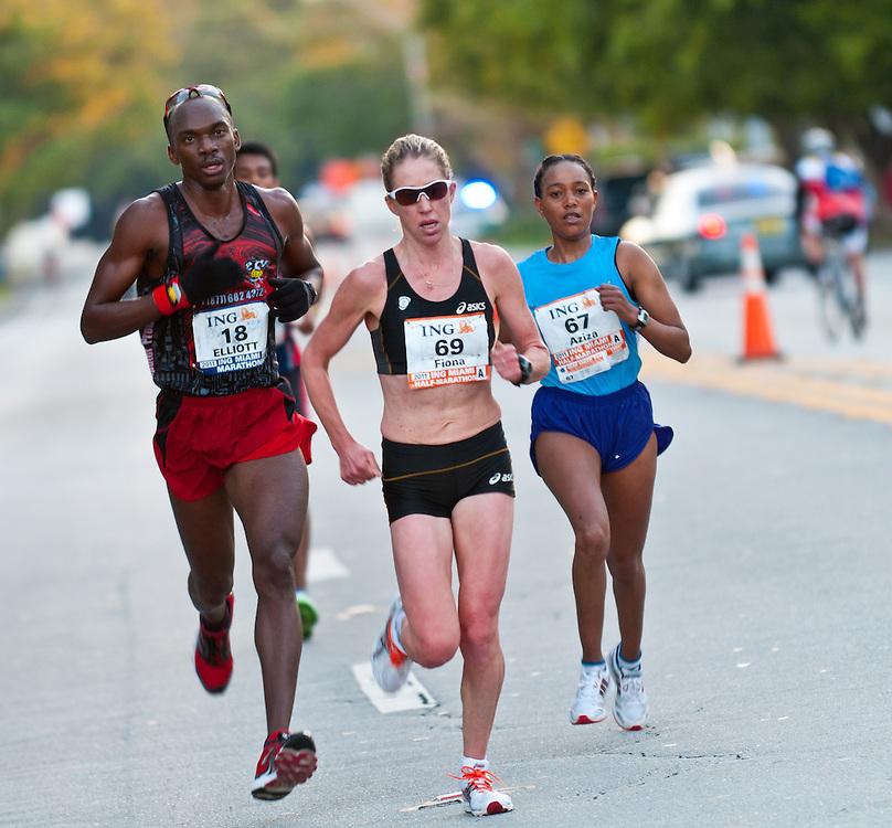 MIAMI, FL - JANUARY 30: Runners competing during Miami Marathon. January 30, 2011 in Miami, Florida.