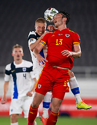 HELSINKI, FINLAND - Thursday, September 3, 2020: Wales' Kieffer Moore during the UEFA Nations League Group Stage League B Group 4 match between Finland and Wales at the Helsingin Olympiastadion. (Pic by Jussi Eskola/Propaganda)