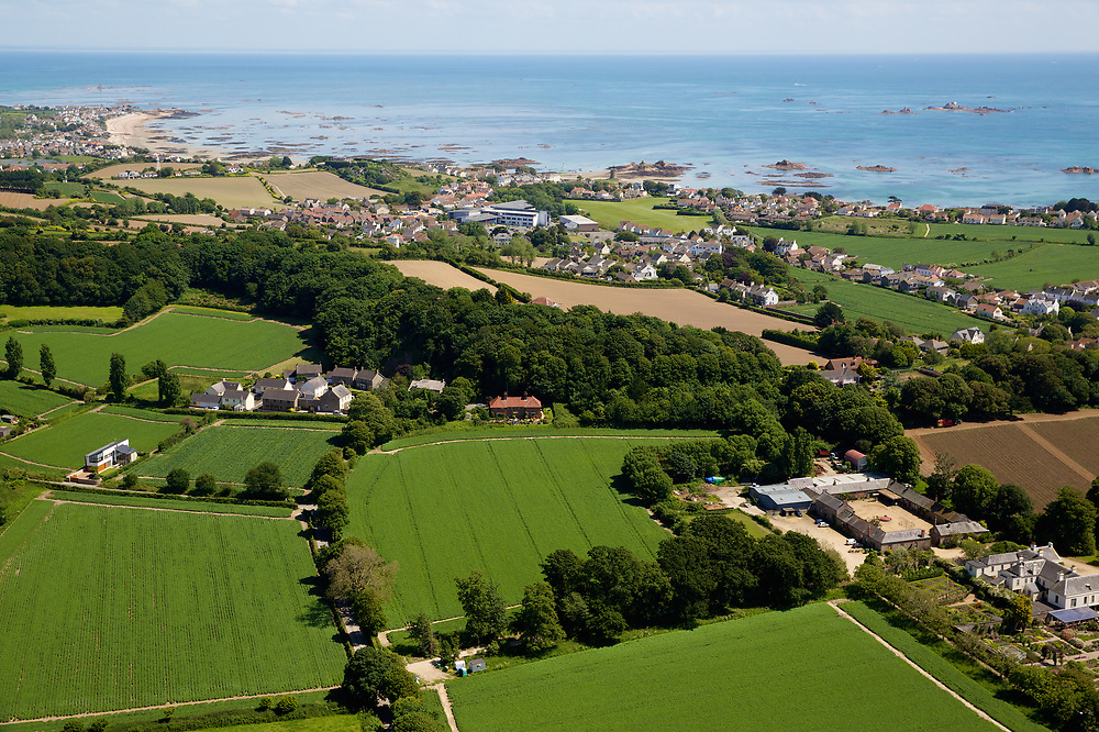 Aerial view of fields and farming in the countryside of St Clement, Jersey