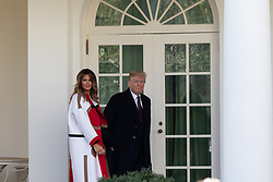 November 20, 2018 - Washington, DC, United States - First Lady Melania Trump, and U.S. President Donald Trump, walk out to the ceremony to pardon the National Thanksgiving Turkey, 'Peas,' in the Rose Garden at the White House, in Washington, DC., on Tuesday November 20, 2018. Following the presidential pardon, Peas will join Carrots, the other pardoned turkey, at Virginia Tech's ''Gobblers Rest'' exhibit in Blacksburg, Virginia. (Credit Image: © Cheriss May/NurPhoto via ZUMA Press)