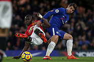 Eric Bailly of Manchester United is fouled by Alvaro Morata of Chelsea.<br /> Premier league match, Chelsea v Manchester United at Stamford Bridge in London on Sunday 5th November 2017.<br /> pic by Kieran Clarke, Andrew Orchard sports photography.