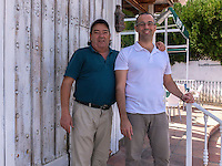 Umberto Holgado and father, restauranteurs, San Pedro de Alcantara, Marbella, Spain, October, 2016, 201610052825<br /><br /><br />Copyright Image from Victor Patterson, 54 Dorchester Park, <br />Belfast, UK, BT9 6RJ<br /><br />t1: +44 28 9066 1296 (from Rep of Ireland 048 9066 1296)<br />t2: +44 28 9002 2446 (from Rep of Ireland 048 9002 2446)<br />m: +44 7802 353836<br /><br />e1: victorpatterson@me.com<br />e2: victorpatterson@gmail.com<br /><br />www.victorpatterson.com<br /><br />Please see my Terms and Conditions of Use at VICTORPATTERSON.COM. It is IMPORTANT that you familiarise yourself with them.<br /><br />Images used on the Internet must be visibly watermarked i.e. ©VICTORPATTERSON.COM within the body of the image and copyright metadata must not be deleted. Images used on the Internet have a size restriction of 4kbs and are chargeable at the then current NUJ rates.<br /><br />This image is only available for the use of the download recipient i.e. television station, newspaper, magazine, book publisher, etc, and must not be passed on to any third party. It is also downloaded on condition that each and every usage is notified within 7 days to victorpatterson@me.com<br /><br />The right of Victor Patterson to be identified as the author is asserted in accordance with The Copyright Designs And Patents Act (1988)
