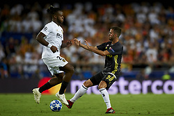 September 19, 2018 - Valencia, Spain - Michy Batshuayi, Miralem Pjanic (R) competes for the ball during the Group H match of the UEFA Champions League between Valencia CF and Juventus at Mestalla Stadium on September 19, 2018 in Valencia, Spain. (Credit Image: © Jose Breton/NurPhoto/ZUMA Press)