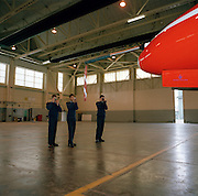Young air cadets photograph a Hawk of the Red Arrows, Britain's RAF aerobatic team during visit to RAF Scampton.