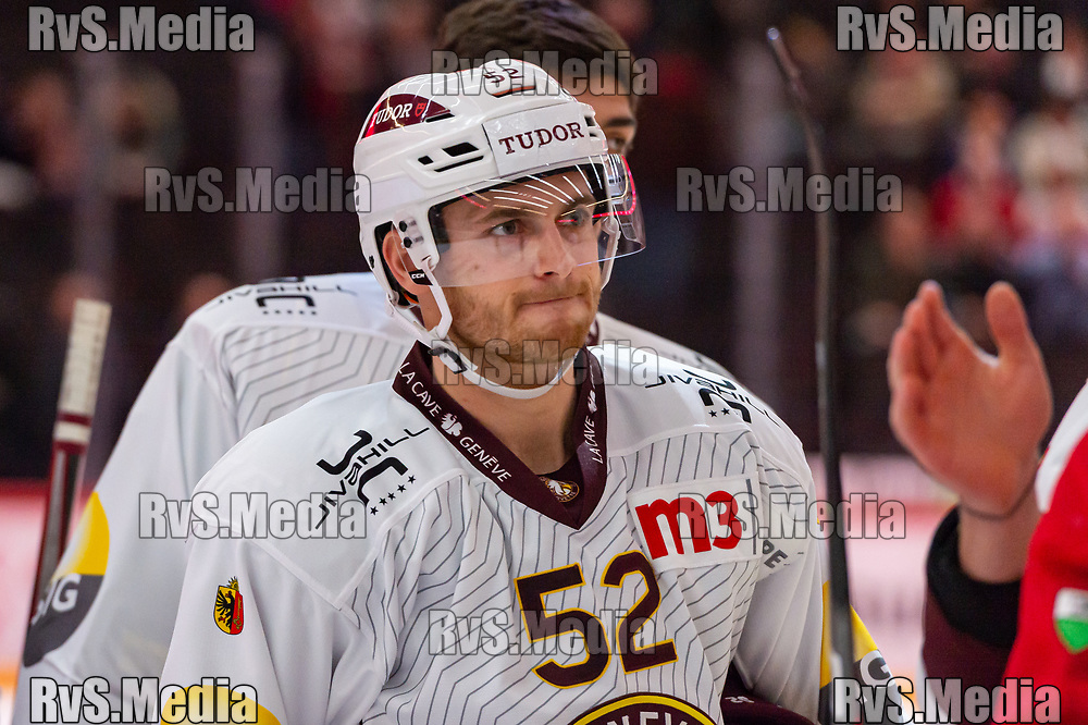 LAUSANNE, SWITZERLAND - NOVEMBER 23: #52 Mike Vollmin of Geneve-Servette HC looks on after the Swiss National League game between Lausanne HC and Geneve-Servette HC at Vaudoise Arena on November 23, 2019 in Lausanne, Switzerland. (Photo by Monika Majer/RvS.Media)
