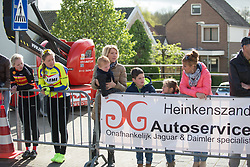 Spectators wait for the penultimate lap to start during the Omloop van Borsele - a 107.1 km road race, starting and finishing in s'-Heerenhoek on April 22, 2017, in Borsele, the Netherlands.