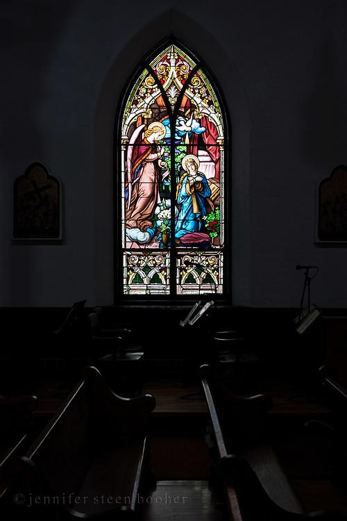 "Window 3 on plan. 55""w x about 120""h.<br /> <br /> Holy Redeemer Catholic Church, Bar Harbor, Maine."