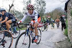 Joëlle Numainville reaches the end of the last gravel sector - 2016 Strade Bianche - Elite Women, a 121km road race from Siena to Piazza del Campo on March 5, 2016 in Tuscany, Italy.