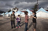 Rita, right, plays with her friends in Yayladagi refugee camp for Syrians in southern Turkey. 12/21/2012 Bradley Secker for the Washington Post