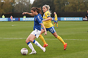 Everton forward Nicoline Sorensen (14) shoots during the FA Women's Super League match between Everton Women and Brighton and Hove Albion Women at the Select Security Stadium, Halton, United Kingdom on 18 October 2020.