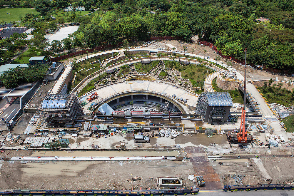 Aerial view of the Daan Park MRT station that is still under construction.