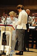 SANDI TOKSVIG;DEBBIE  TOKSVIG; ;, Sandi  and Debbie Toksvig,  renewing their civil partnership vows at the Royal Festival Hall. London. 29 March 2014.