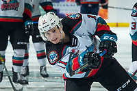 KELOWNA, BC - DECEMBER 27: Pavel Novak #11 of the Kelowna Rockets warms up with a shot on net against the Kamloops Blazers  at Prospera Place on December 27, 2019 in Kelowna, Canada. (Photo by Marissa Baecker/Shoot the Breeze)