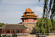 The Arrow Tower on the palace walls of the Forbidden City during a summer day in Beijing, China