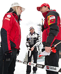 17.03.2011, Planica, Kranjska Gora, SLO, FIS World Cup Finale, Ski Nordisch, Skiflug, im Bild Alexander Pointner (AUT, r.) Andreas Goldberger (AUT) und Bereuerin des ÖSV // Alexander Pointner (AUT, r), Andreas Goldberger (AUT, m) and a supervisor of the Austria Skiteam during a training session of the Ski Jumping World Cup finals in Planica, Slovenia, 17/3/2011. EXPA Pictures © 2011, PhotoCredit: EXPA/ J. Groder