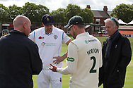 Captains exchange team sheets at the toss before the Specsavers County Champ Div 2 match between Leicestershire County Cricket Club and Derbyshire County Cricket Club at the Fischer County Ground, Grace Road, Leicester, United Kingdom on 27 May 2019.
