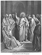 Christ preaching in the Synagogue [Matthew 13:54] From the book 'Bible Gallery' Illustrated by Gustave Dore with Memoir of Dore and Descriptive Letter-press by Talbot W. Chambers D.D. Published by Cassell & Company Limited in London and simultaneously by Mame in Tours, France in 1866