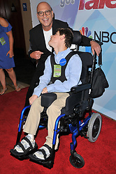 """(L-R) Howie Mandel aposes with Antonio from Make a Wish Foundation at the NBC """"America's Got Talent"""" Season 12 Live Show held at the Dolby Theater in Hollywood, CA on Tuesday, August 22, 2017. (Photo By Sthanlee B. Mirador/Sipa USA)"""