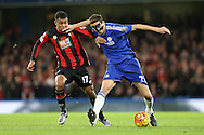 Nemanja Matic of Chelsea pushes Joshua King of Bournemouth. Barclays Premier league match, Chelsea v AFC Bournemouth at Stamford Bridge in London on Saturday 5th December 2015.<br /> pic by John Patrick Fletcher, Andrew Orchard sports photography.