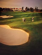 A man takes a shot from the fairway at a course in Pinehurst, North Carolina