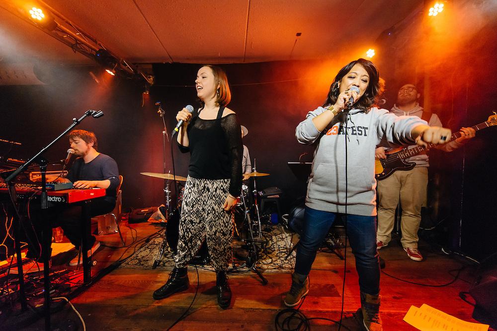 Photos of the Icelandic rapper Ragna Kjartansdóttir aka CELL7 plus special guest band Subterranean performing live at Húrra in Reykjavík, Iceland. May 17, 2014. Copyright © 2014 Matthew Eisman. All Rights Reserved