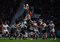 Rugby Union - 2018 / 2019 Gallagher Premiership - Harlequins vs. Leicester Tigers<br /> <br /> Harlequins' James Horwill claims the lineout, at The Stoop.<br /> <br /> COLORSPORT/ASHLEY WESTERN