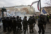 December, 8th, 2018 - Paris, Ile-de-France, France: Riot police on Champs Elysees. The French 'Gilets Jaunes' demonstrate a fourth day. Their movement was born against French President Macron's high fuel increases. They have been joined en mass by students and trade unionists unhappy with Macron's policies. Nigel Dickinson/Polaris