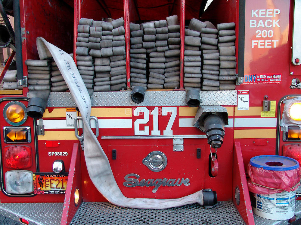 The back of a fire truck.