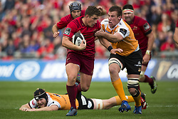 September 9, 2017 - Limerick, Ireland - Ian Keatley of Munster with the ball during the Guinness PRO14 rugby match between Munster Rugby and Cheetahs Rugby at Thomond Park in Limerick, Ireland on September 9, 2017  (Credit Image: © Andrew Surma/NurPhoto via ZUMA Press)