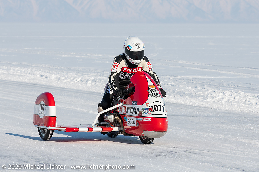 Racer Peter Lapshenkov on his Bonny 3w sidecar bike at the Baikal Mile Ice Speed Festival. Maksimiha, Siberia, Russia. Friday, February 28, 2020. Photography ©2020 Michael Lichter.