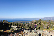 Mount Tallac trailhead overlooking lake Tahoe, California, USA