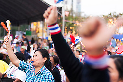 © Licensed to London News Pictures. 16/01/2014. Anti Government protestor blows her whistle at a rally during the fourth day of the 'Bangkok Shutdown' as anti-government protesters continue with their 'shutdown' of Bangkok.  Major intersections in the heart of the city have been blocked in their campaign to oust Prime Minister Yingluck Shinawatra and her government in Bangkok, Thailand. Photo credit : Asanka Brendon Ratnayake/LNP