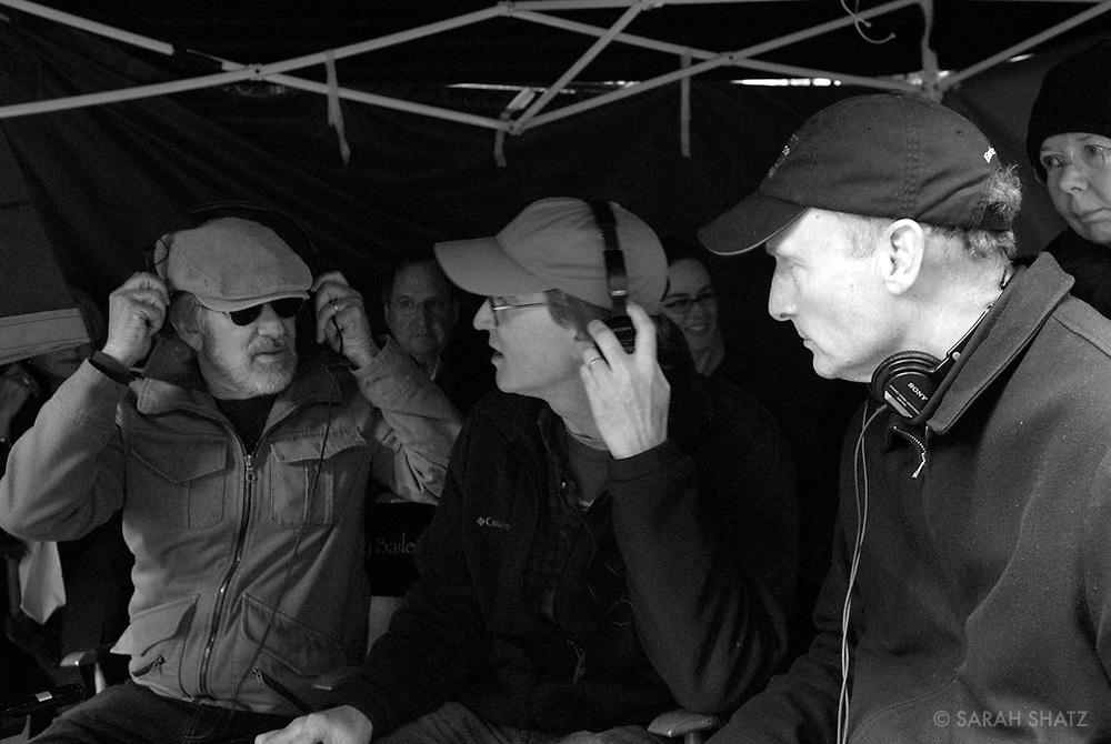 """Steven Spielberg, David Koepp, Ezra Swerdlow on the set of """"Ghost Town"""" (Dir: David Koepp, 2008)"""